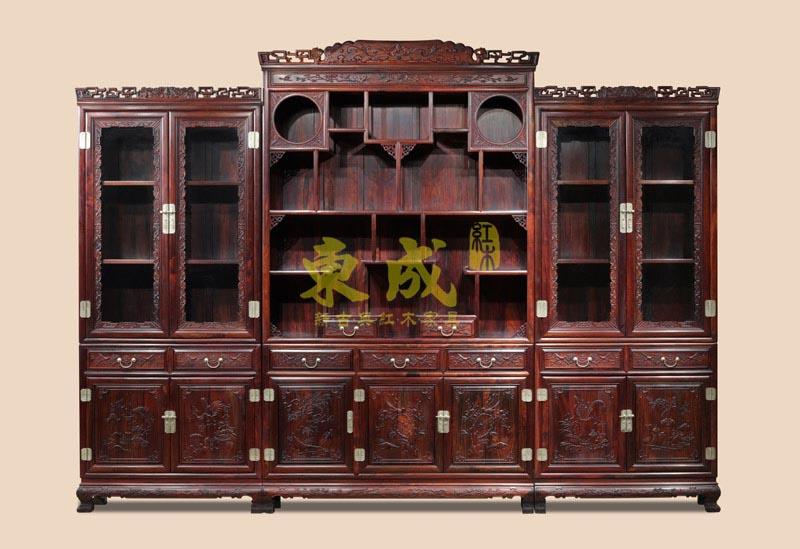 东成红木大象宝座三组合书柜