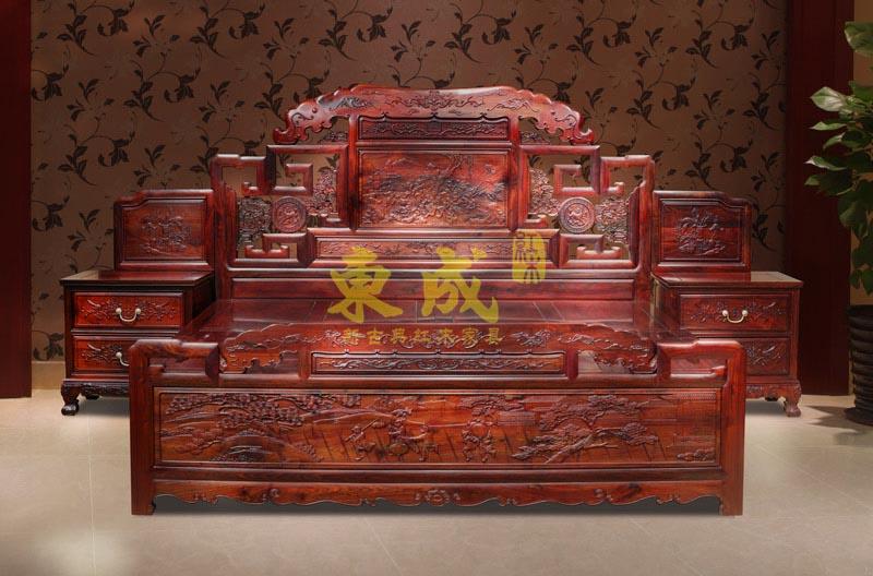 东成红木大象宝座大床