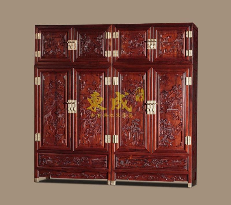 东成红木如意宝座顶箱柜